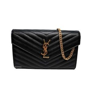 Saint Laurent Black Large Wallet on Chain